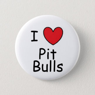 I Heart Pit Bulls 6 Cm Round Badge