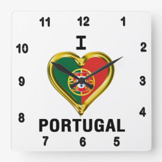 I HEART PORTUGAL SQUARE WALL CLOCK