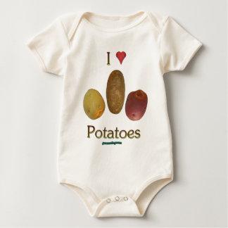 I Heart Potatoes Baby Bodysuits