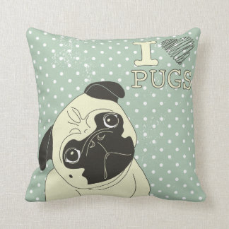 I Heart Pugs Pillow