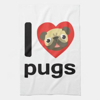 I heart pugs towel