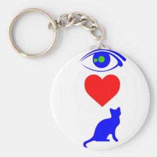 I Heart Pussy_Cat Basic Round Button Key Ring