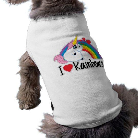 I Heart Rainbows Sleeveless Dog Shirt