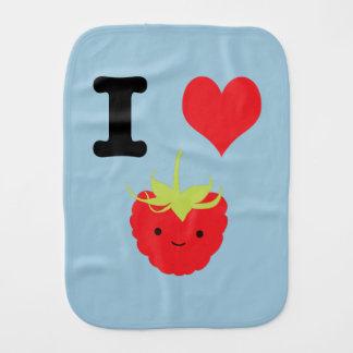 I Heart Rasberries Baby Burp Cloths