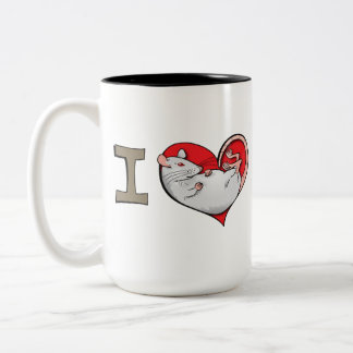 I heart rats (albino) Two-Tone coffee mug