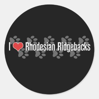I (heart) Rhodesian Ridgebacks Round Sticker