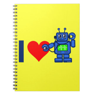 I heart robot spiral note book