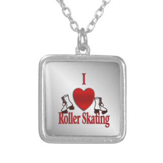 I Heart Roller Skating Silver Plated Necklace