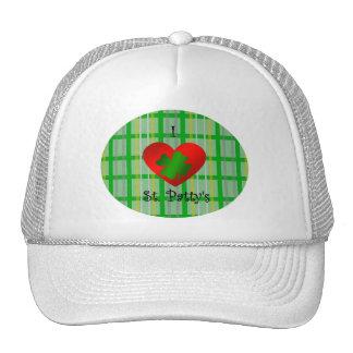 I heart saint patty's on gold green plaid trucker hat