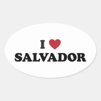 I Heart Salvador Brazil Oval Sticker