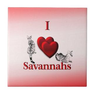 I Heart Savannah Cat Ceramic Tile