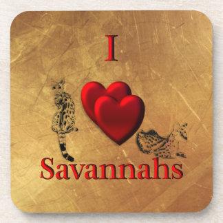 I Heart Savannah Cat Coaster