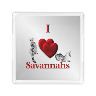 I Heart Savannah Cat Silver Acrylic Tray