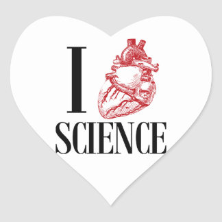 I heart science heart sticker