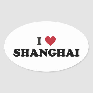 I Heart Shanghai China Oval Sticker
