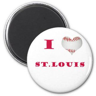 I Heart Shapped Baseball St. Louis 6 Cm Round Magnet