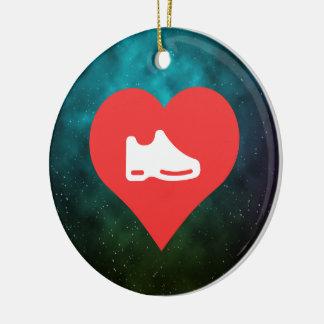 I Heart shoes Icon Round Ceramic Decoration