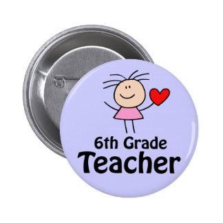 I Heart Sixth Grade Teacher 6 Cm Round Badge
