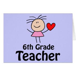 I Heart Sixth Grade Teacher Greeting Card