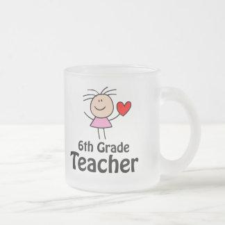 I Heart Sixth Grade Teacher 10 Oz Frosted Glass Coffee Mug