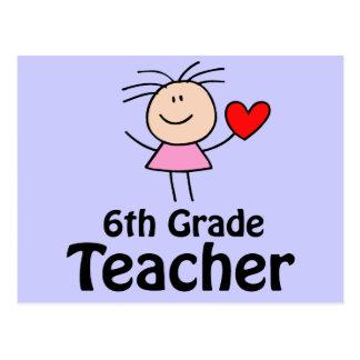I Heart Sixth Grade Teacher Postcard