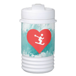 I Heart Skiing Icon Drinks Cooler