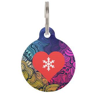 I Heart Snow Flakes Icon Pet Name Tag