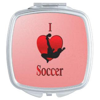 I Heart Soccer Travel Mirror