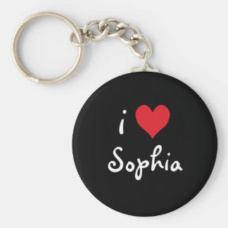 i Heart Sophia Basic Round Button Key Ring