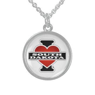I Heart South Dakota Round Pendant Necklace