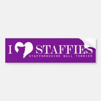 i heart Staffies - Bumper Sticker Purple