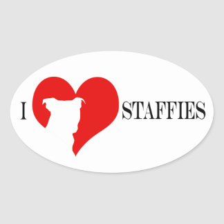 i heart Staffies - Oval Stickers