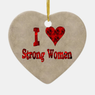 I Heart Strong Women Ceramic Heart Decoration