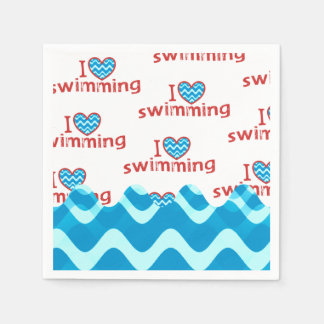 I heart Swimming for Swimmers Disposable Serviettes