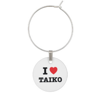 I Heart Taiko Wine Charm