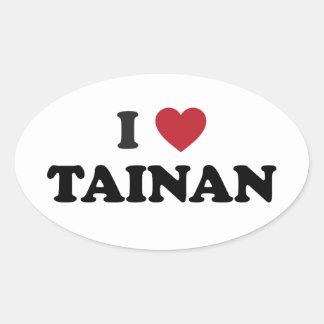 I Heart Tainan Taiwan Oval Sticker
