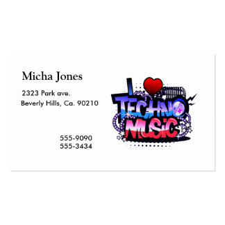 I Heart Techno Music Double-Sided Standard Business Cards (Pack Of 100)