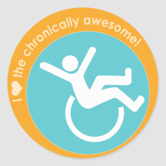 I {heart} the Chronically Awesome Round Sticker