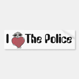 I Heart The Police Alien Bumper Sticker