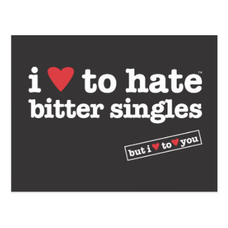 i heart to hate bitter singles postcard