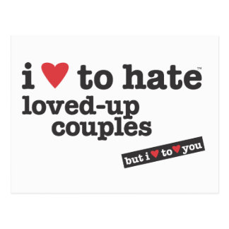 i heart to hate loved-up couples postcard
