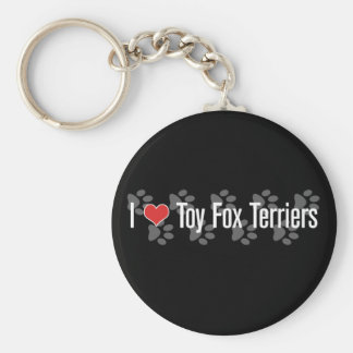 I (heart) Toy Fox Terriers Basic Round Button Key Ring
