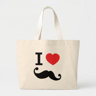 I heart twirly Moustache Jumbo Tote Bag