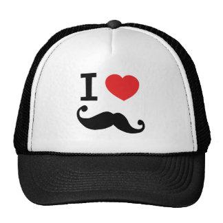 I heart twirly mustache hats