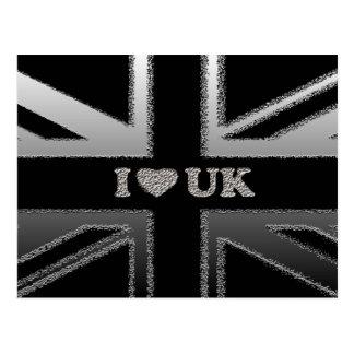 I Heart UK Black and Silver Union Jack Flag Postcard