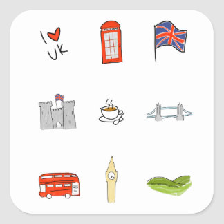 I Heart UK, British Love, United Kingdom Landmarks Square Sticker