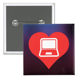 I Heart Using Laptops Icon 15 Cm Square Badge