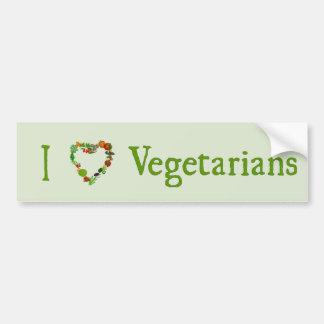 I Heart Vegetarians Car Bumper Sticker