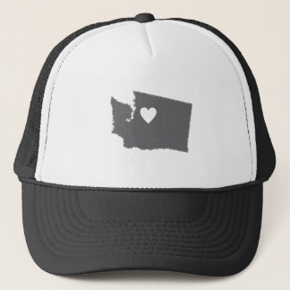 I Heart Washington Grunge Look Outline State Love Trucker Hat