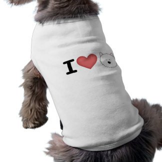 I (heart) westies sleeveless dog shirt